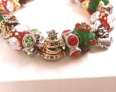 Authentic Pandora Bracelet Sterling Silver 925 ALE w/ Murano Glass Beads & Silver Charms, Christmas Bracelet, xmas, GREAT Christmas Gift* - ThriftyJane