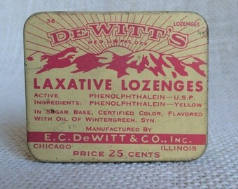 Dewitt's Laxative Lozenges Tin with Contents - Vintage Advertising - 1920's-30's