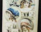 REDUCED ... Vintage Large Art Card for Framing 1913 Vintage Hats of Paris
