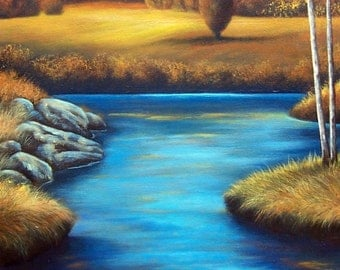 Birch Trees, original painting, landscape, forest, river, #2 of a triptych