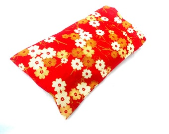 Red and Gold Cherry Blossoms Eye Pillow with Removable Case- With or Without Scent - Relaxing Eye Pillow Japan