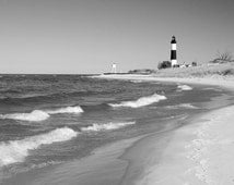 Lighthouse photography, Michigan art photo print, black and white picture, Big Sable landscape scenery, Great Lakes wall decor 8x10 20x30