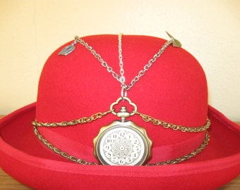 Red Steampunk Bowler Styled Hat- With Various Chains, 4 Charms and 2 Buttons