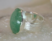 Green aventurine ring, goldsmith ring. Wide silver ring, green gemstone. Handmade ring. Gift for her.   FREE SHIPPING.