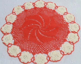 Vintage Red and White Crocheted Flower Doily Handmade