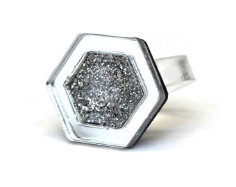 Silver Glitter Resin Geometric Hexagonal Sterling Silver Ring