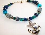 Nautical Anchor Necklace with Tiger Eye Striped Beads and Turquoise - MeyerClarkCreative
