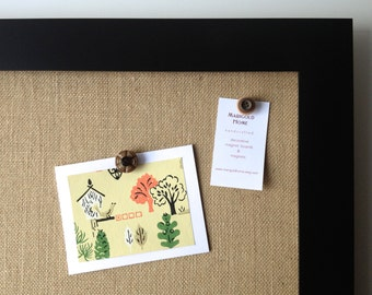 Bulletin board, EX LG tan burlap covered, framed magnetic memo board, modern office, rustic wedding, place card display, office organization