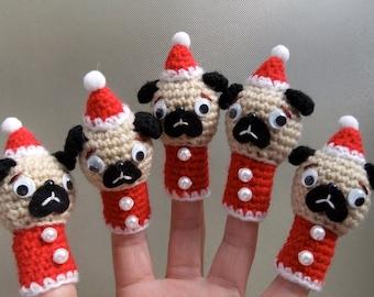The Christmas Pug Finger Puppet Doll