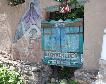 Door Photography, Chimayo Bienvenidos Gate, Wall Decor, New Mexico, Spiritual, Blue, Adobe, Rustic, wood, painting of Jesus
