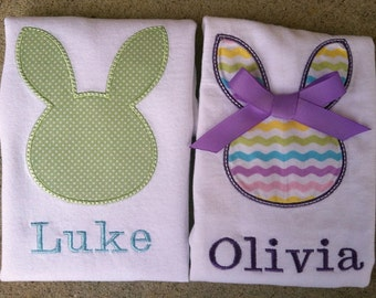 EASTER SET, Siblings, Kids Boy and Girl PERSONALIZED Tee Shirts, Brother Sister, Bunny Applique Embroidered Name Monogram