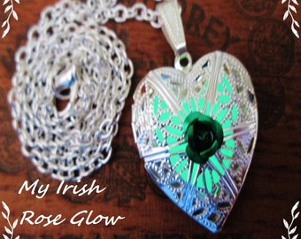 My Irish Rose Glowing Heart Necklace