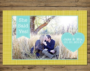 Hand Drawn Save the Date Announcement - Custom Photo Engagement Card - Printable