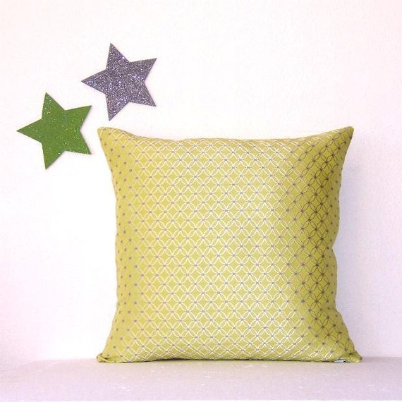 Green Grey Decorative Pillow Cover Silver 16 x 16