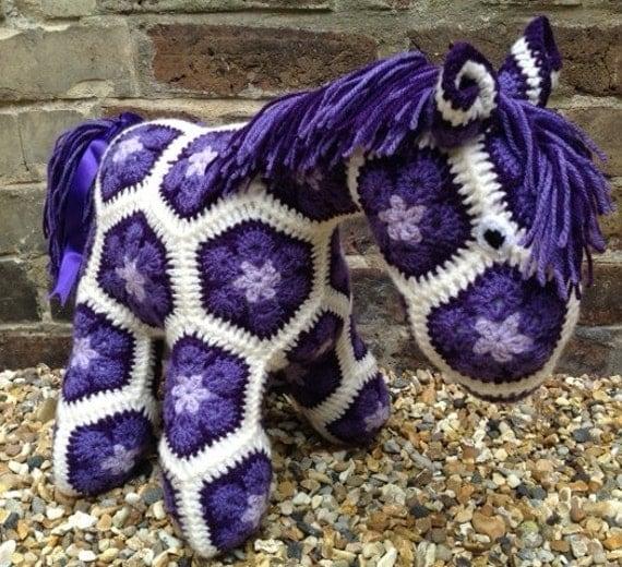 Crochet African Flower Horse Pattern : Items similar to Violet - Purple Crochet African Flower ...