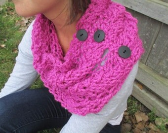 Pink Chunky Cowl Scarf with Buttons