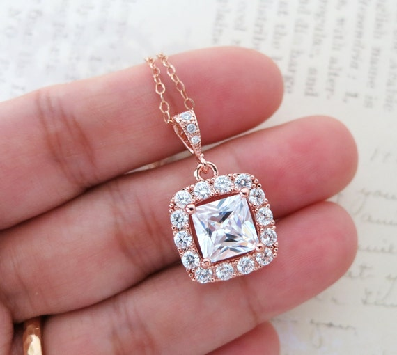 Rose Gold Luxe Cubic Zirconia Square Drop necklace, Halo style crystal necklace, Silver bridesmaid necklace, brides wedding jewelry