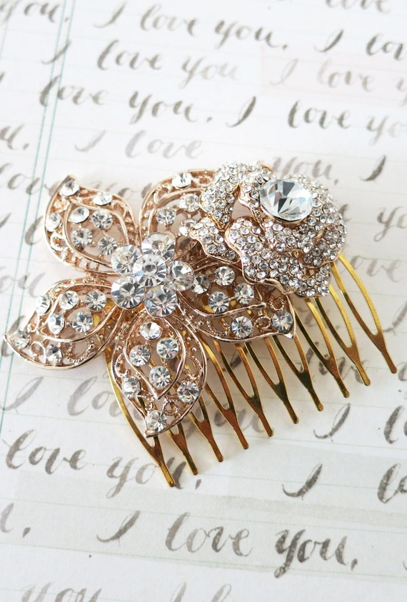 Rose Gold Wedding Hair Comb, Accessories, Rose Gold Hair Comb, Pink Gold, Champagne, Rhinestones, Crystal, Garden Flower Comb - Tadako