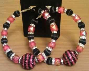 Love and Hip Hop and Basketball wives inspired hoop with transparent hot pink and black beads