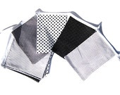 birthday or party bunting, boy's room decor,  white,grey, black with dots and stripes, double sewn fabric flag banner - kleinedromen