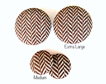 Brown Wool Herring Fabric Covered Button Earring