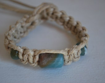 Polished Mixed Colors Stone Beads on Natural Hemp Bracelet