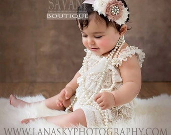 Baby lace romper,2 pcs cream ,romper and headband. Petti Romper Set. Lace Petti Romper ,Baby Girl Photo Prop,Flower girl lace outfit, romper
