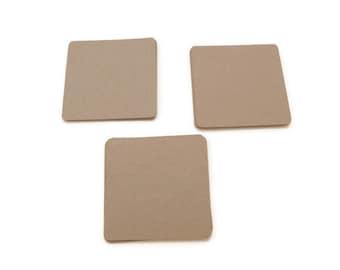 """40 Blank Cards - Kraft Die Cut - 2"""" x 2"""" - Square Card - Kraft Cards - Scrapbooking Die Cut - Journaling Cards - Smashbook Accessories"""