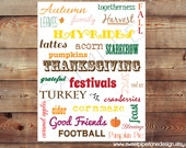 Printable Fall Decor Accent-Autumn Words 8X10 JPG (300 dpi) Instant Download