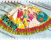 Little Girls Skirt - Kendra - Vintage Inspired Ruffle Skirt - Rope Belt with Beads - Birthday Twirl Skirt by Old Vintage Bike