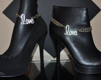 LOVE, LOVE, LOVE silver and sparkle boot or shoe jewelry to show your style and flair. Sold as a set or individually.