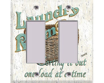 Laundry Room Style 2 Double Rocker/GFI Cover