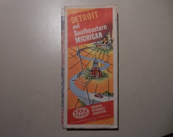 1963 Detroit and Southeastern Michigan AAA Road Map