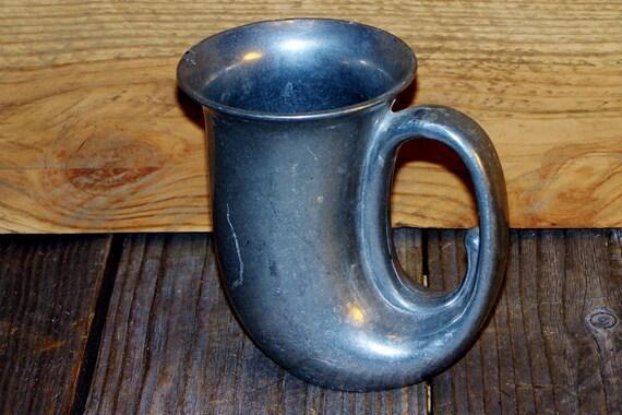 Vintage Leonard Duratale Horn Mug Pewter Tankard Italy Shaped