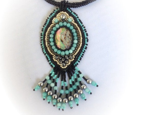 items similar to paua shell cabochon and turquoise bead