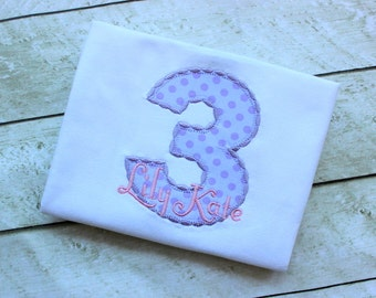 birthday top birthday shirt birthday number pink and purple applique top polka dot birthday shirt set outfit clothing girl toddler birthday