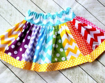 Girls rainbow birthday skirt. Baby toddler girl rainbow skirt for matching outfit. Birthday clothing. Size 2t 3t 4t 5 6 8 10 12 months.