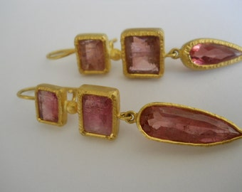 22kt 3 stone earring set with fine pink Tourmaline Hand-made – one pair only