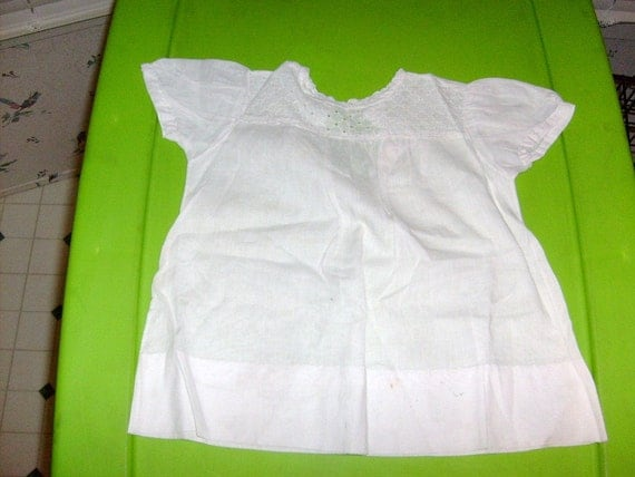 antique BABY GIRL DRESS white eyelet top used