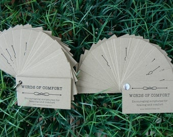 Words of Comfort Encouragement Verses Scripture Healing Difficult Times business card size