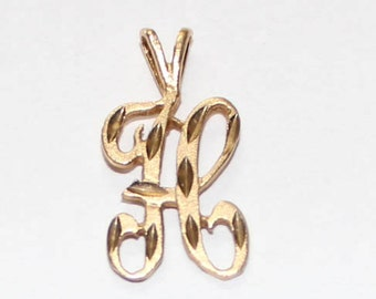 """Initial """"H"""" Charm / Pendant 14k yellow gold - 20mm height - sku 92381"""