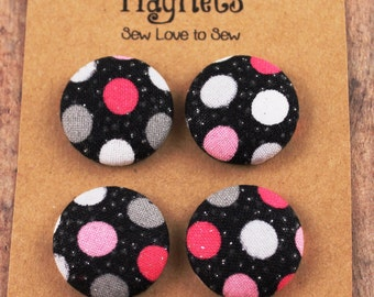 Fabric Covered Button Magnets / Polka Dot Sparkle Magnets / Polka Dot Magnets / Strong Magnets / Refrigerator Magnets / Fridge Magnets