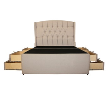 meridian diamond tufted ii 8 drawer upholstered storage platform bed handcrafted in the usa - King Bed Frame With Storage