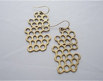 Raw Brass earrings & cubic zirconia accent with organic honeycomb design created using 3D printing. Dangles from french wire.Chic statement!
