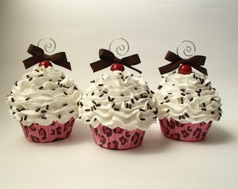 Pink Leopard Faux Cupcake Ornament with White Frosting and Chocolate Sprinkles