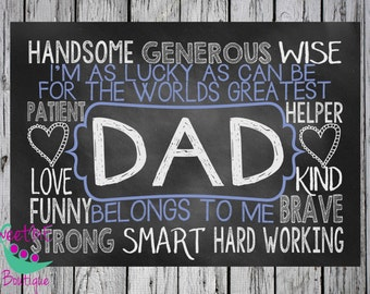Fathers Day chalkboard art, Fathers Day print, Dad art, Fathers Day subway art, INSTANT download
