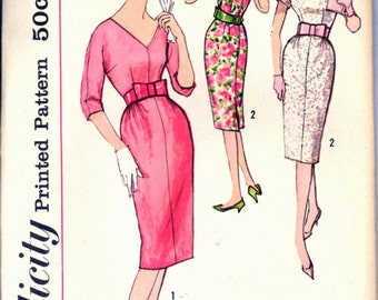 1950s Sheath Dress Shaped Belt Simplicity 2956 Bust 36 Sewing Pattern Vintage 50s
