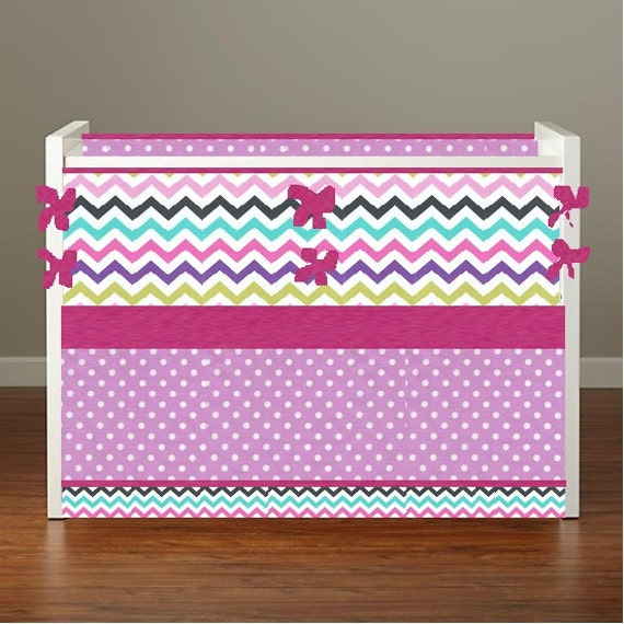 Items similar to bumperless nursery bedding crib bedding - Hot pink and purple bedding ...