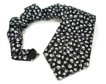 skull tie, halloween tie, skeleton tie, mens necktie, black tie, bones tie, Dia de los Muertos tie, creepy skull, day of the dead