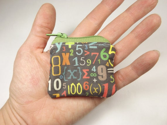 math wallet, math pouch, math coin purse, math major,  number pouch, math teacher, math teacher gift, coin pouch